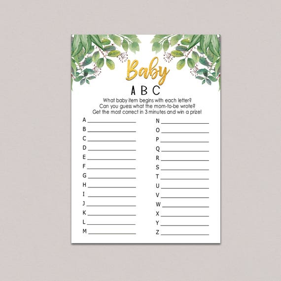 Baby Abc Game Baby Items Game Alphabet Game Greenery Baby Etsy