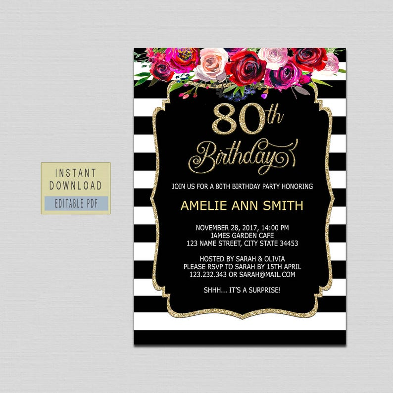 80th Birthday Invitations Instant Download