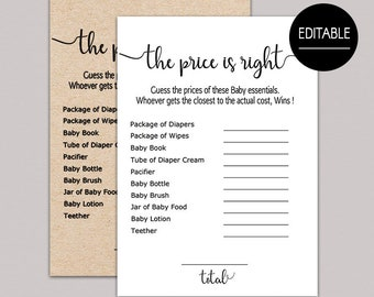 Price is right baby shower game editable, the price is right baby shower game fun activities, editable baby shower games, rustic, kraft B11