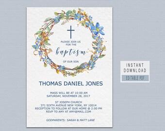 BAPTISM INVITATION instant download, baptism invitation boy template, baptism invites boy, blue floral baptism invitation, editable pdf