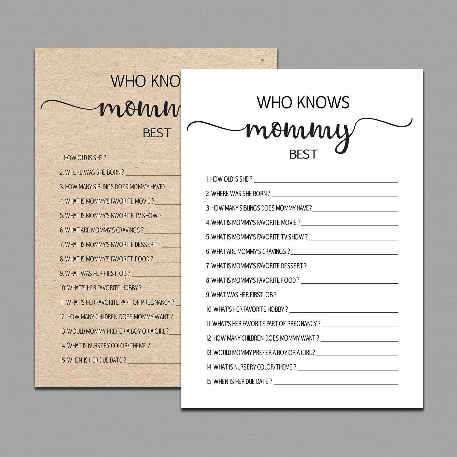 picture about Who Knows Mommy Best Printable titled Who Appreciates Mommy Great Match, Mommy in the direction of be Quiz, how properly do your self recognize mommy, Rustic Child Shower Game titles printable, Kraft Shower Enjoyment Actions B11