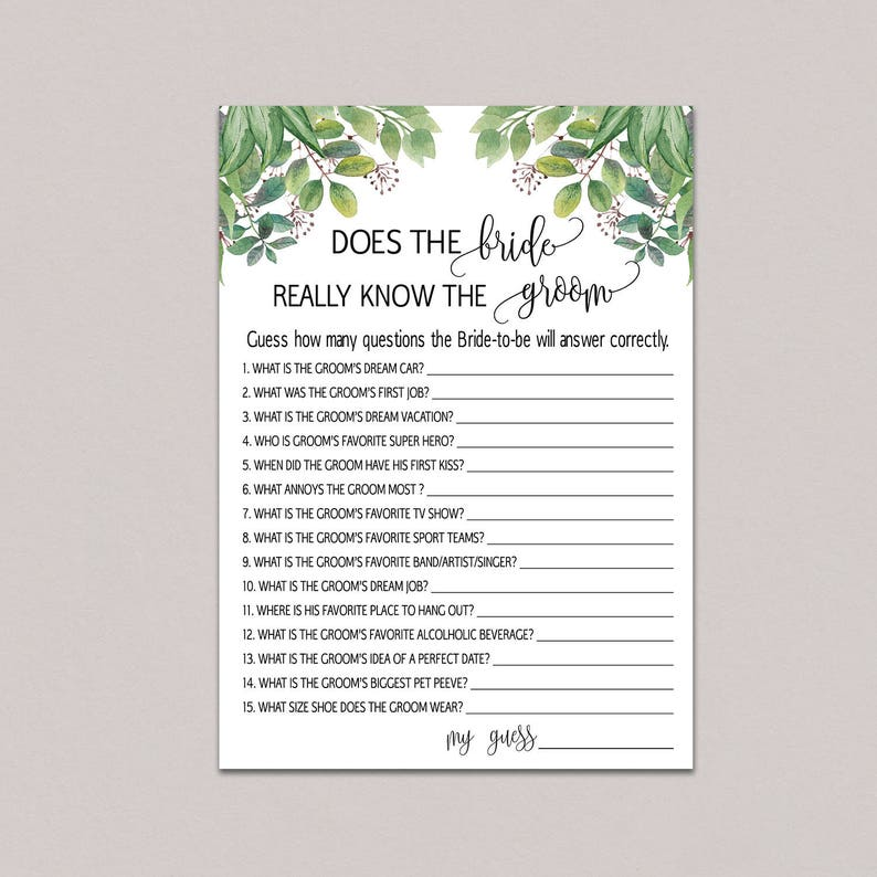 Bride And Groom Questionnaire: How Well Does The Bride Know The Groom Bride Groom Game