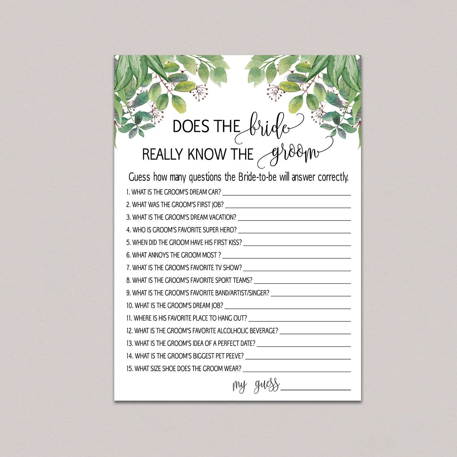 How Well Does The Bride Know The Groom Bride Groom Game