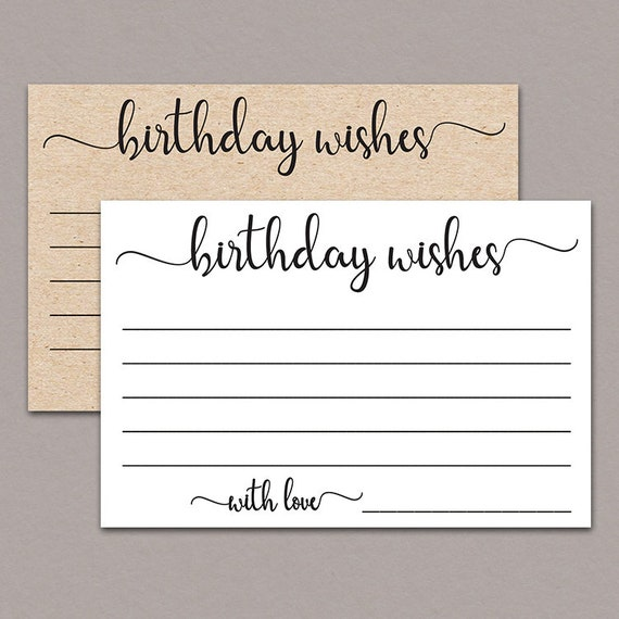 Birthday Wish Cards Rustic Printable Milestone