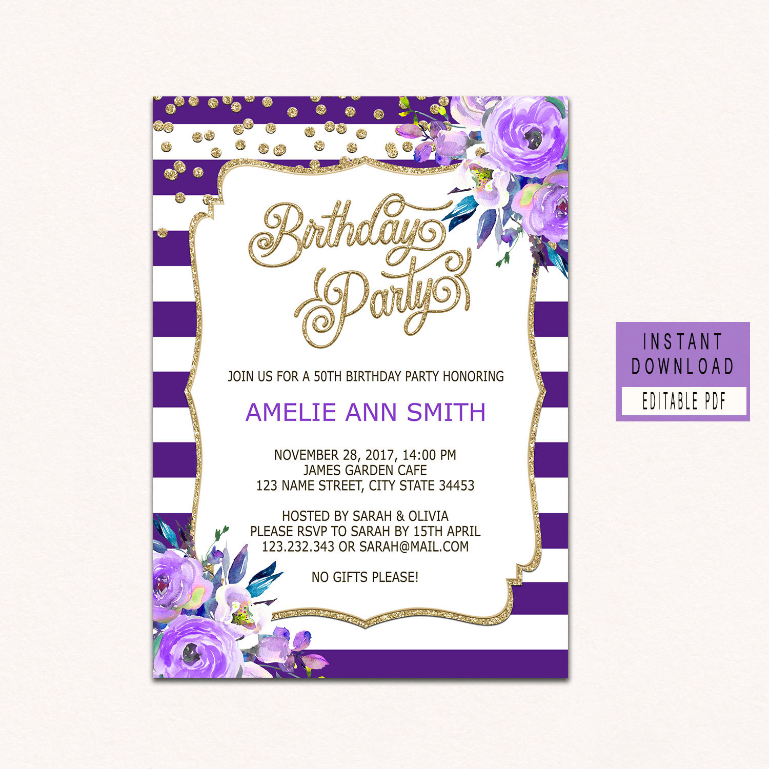 Floral Purple Birthday invitations for women adult birthday | Etsy