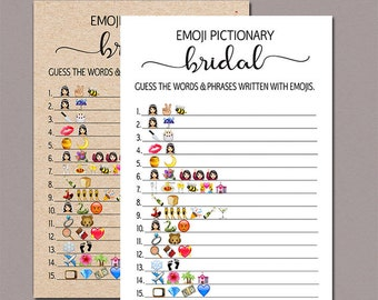 Bridal Shower Game pictionary, Bridal Pictionary, emoji pictionary bridal shower game, Wedding Shower Game, Bachelorette Party Rustic B11