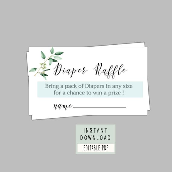 Diaper Raffle Ticket Editable Diaper Raffle Greenery Theme Diaper Raffle Sign And Ticket Template Baby Shower Diaper Raffle Cards B61