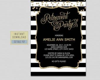RETIREMENT INVITATION instant download, retirement invitation for woman man, retirement party invitations, black gold retirement invites B21