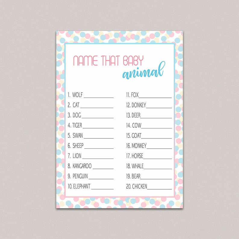 photograph relating to Gender Reveal Printable called Gender make clear bash video games printable, Youngster animal recreation, Bet Little one Pets, blue red shower video games, gender describe video games, dual boy or female B36