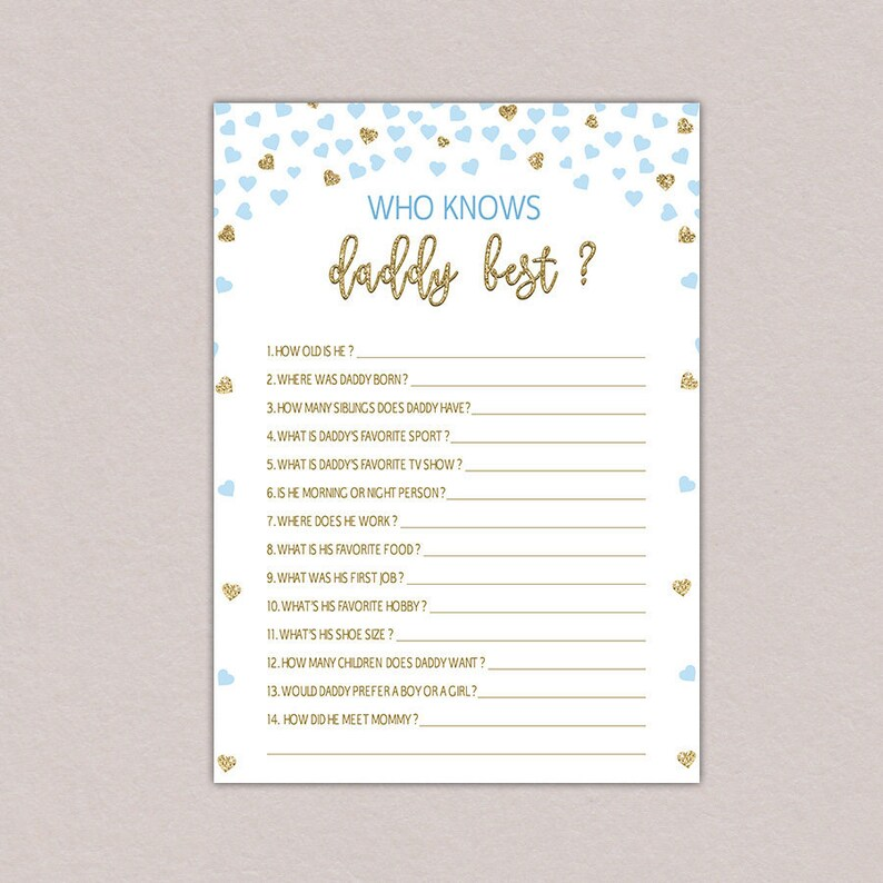 Who knows daddy best game, how well do you know the daddy, Daddy Quiz, Gold  Blue Baby Shower Games, Boy, Gold, Baby Blue Confetti Hearts B55