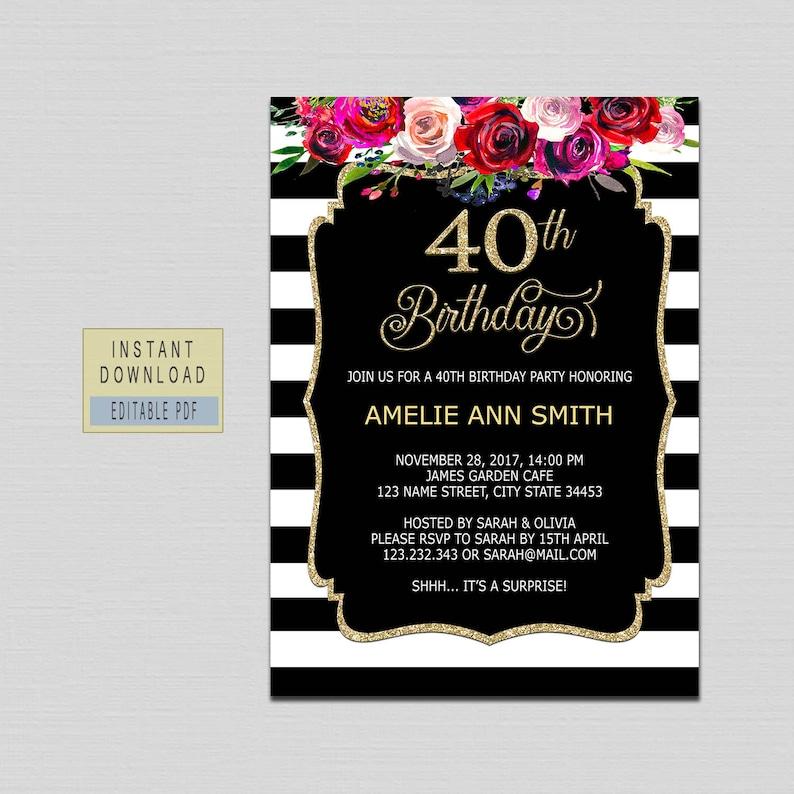40th Birthday Invitations For Women 40th Birthday Invites Etsy