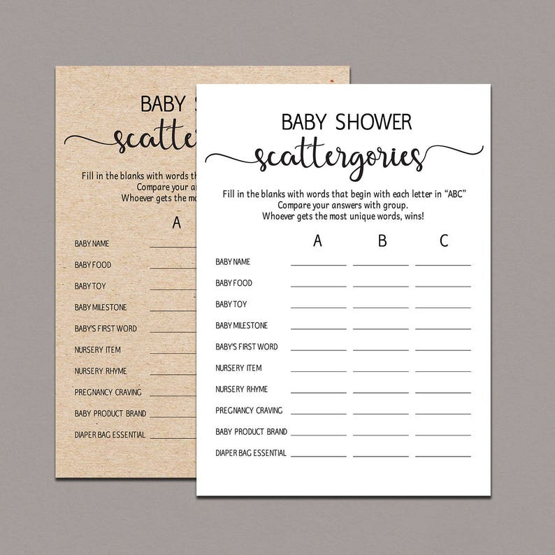 dd6f77e7e5a92 Baby Scattergories Game, baby shower guessing game, Rustic baby Shower  Games, Gender Neutral Game Printable fun, kraft printable games B11
