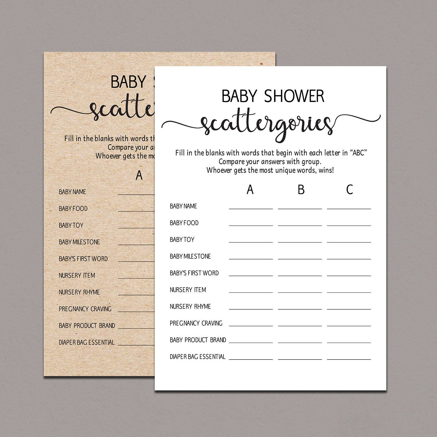 Baby Scattergories Game baby shower guessing game Rustic | Etsy