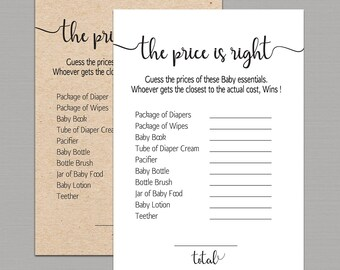 Price is right baby shower game, the price is right baby shower game fun activities kraft rustic sprinkle Games instant download pdf B11