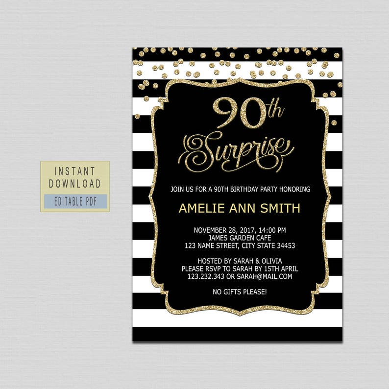 90th Surprise Birthday Invitation Instant Download
