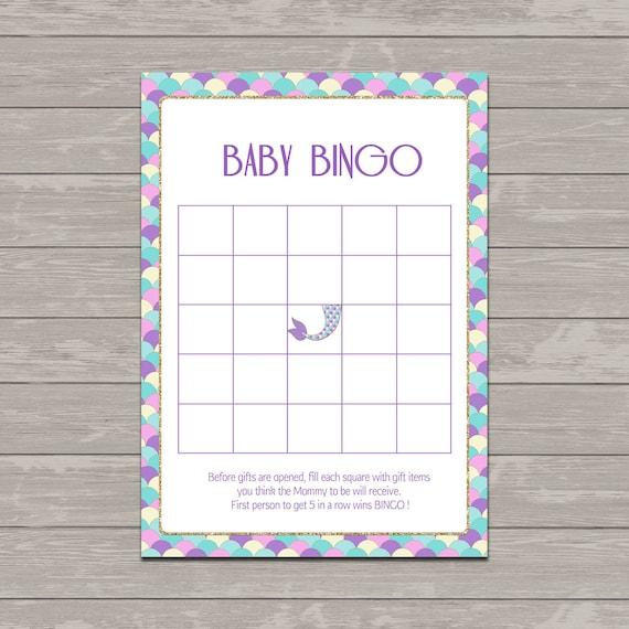 Make Your Own Bingo Card: Mermaid Baby Shower Bingo Cards Baby Shower Bingo