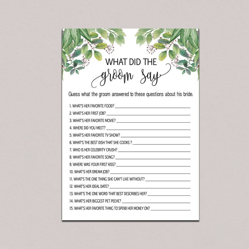 Bride And Groom Questionnaire: What Did The Groom Say About His Bride Game What Did The