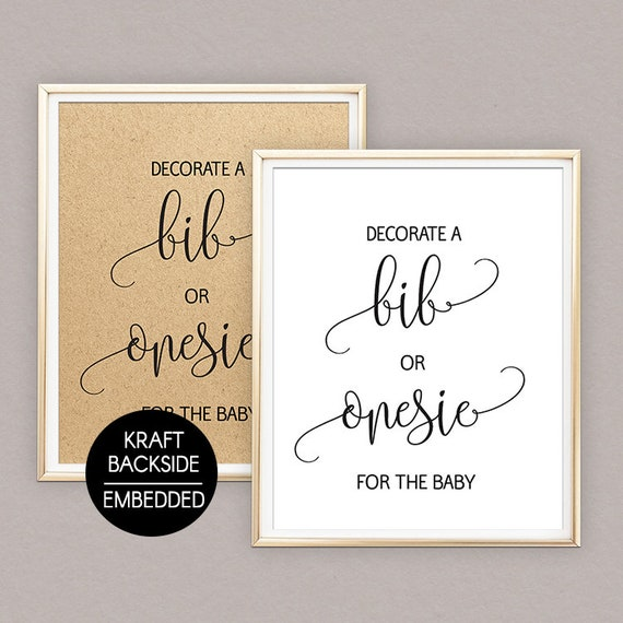 97fa8471bec6f Decorate a onesie sign, Onesie decorating sign, Decorate a bib sign,  Decorating Station Sign, Rustic Baby Shower Table Signs, kraft sign B43