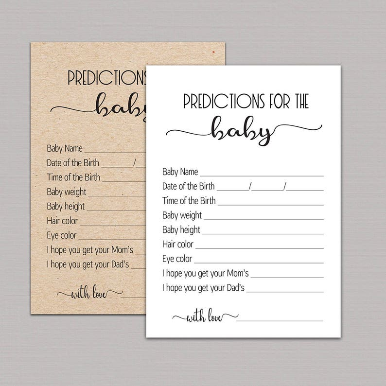 BABY PREDICTION CARDS, predictions for baby printable, baby prediction  game, baby shower, baby prediction cards gender neutral kraft B11