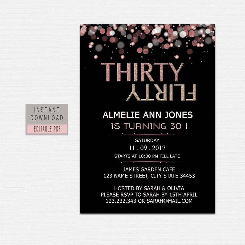 30th Birthday Invitations For Women Thirty Dirty Invite