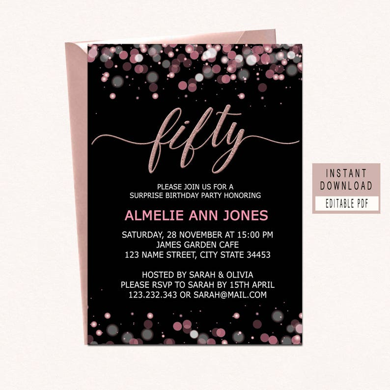 50th birthday invitations invitation fifty rose gold fabulous instant elegant etsy pink invite create