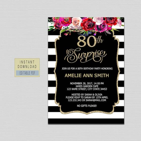 80th Surprise Birthday Invitation Instant Download