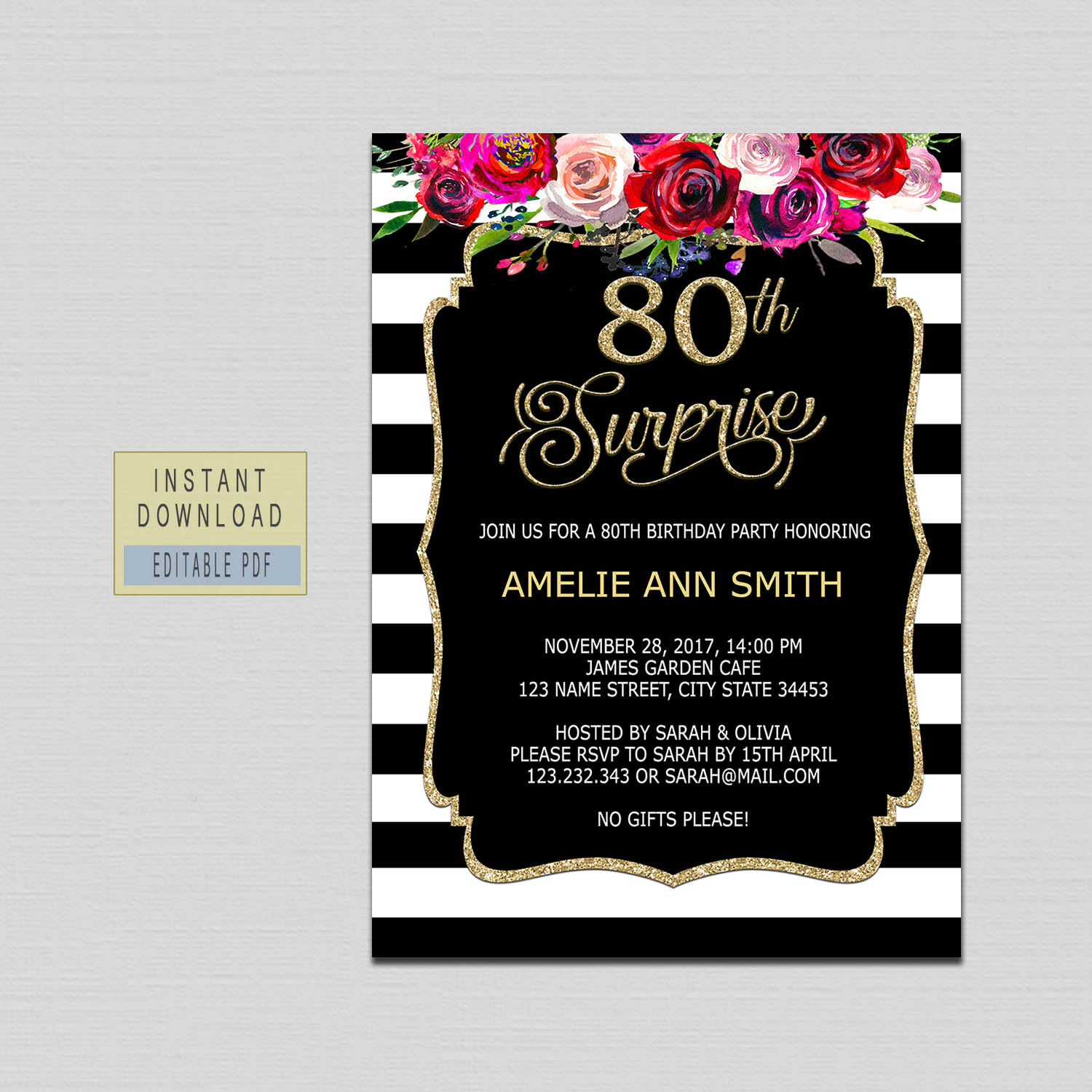 80th Surprise Birthday Invitation Instant Download 80th