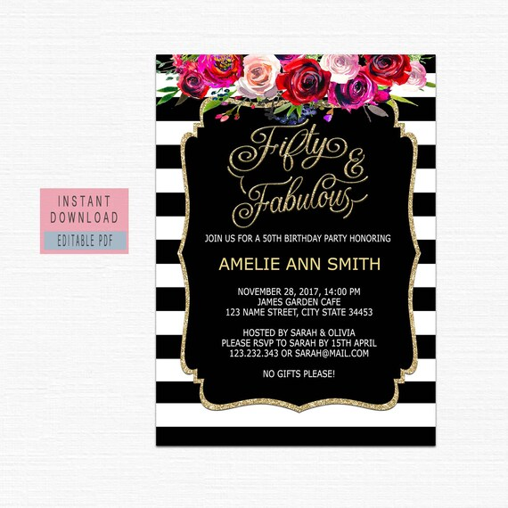 50th Birthday Invitations Instant Download Fifty And Fabulous