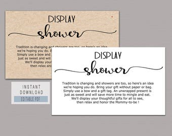 DISPLAY SHOWER CARD, Display shower insert, Display shower template, Baby Shower Invitation Insert Card, Editable Text, No Gift Wrap B11