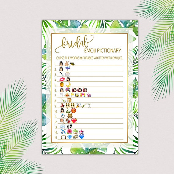 Tropical bridal shower game pictionary bridal pictionary etsy image 0 solutioingenieria Gallery