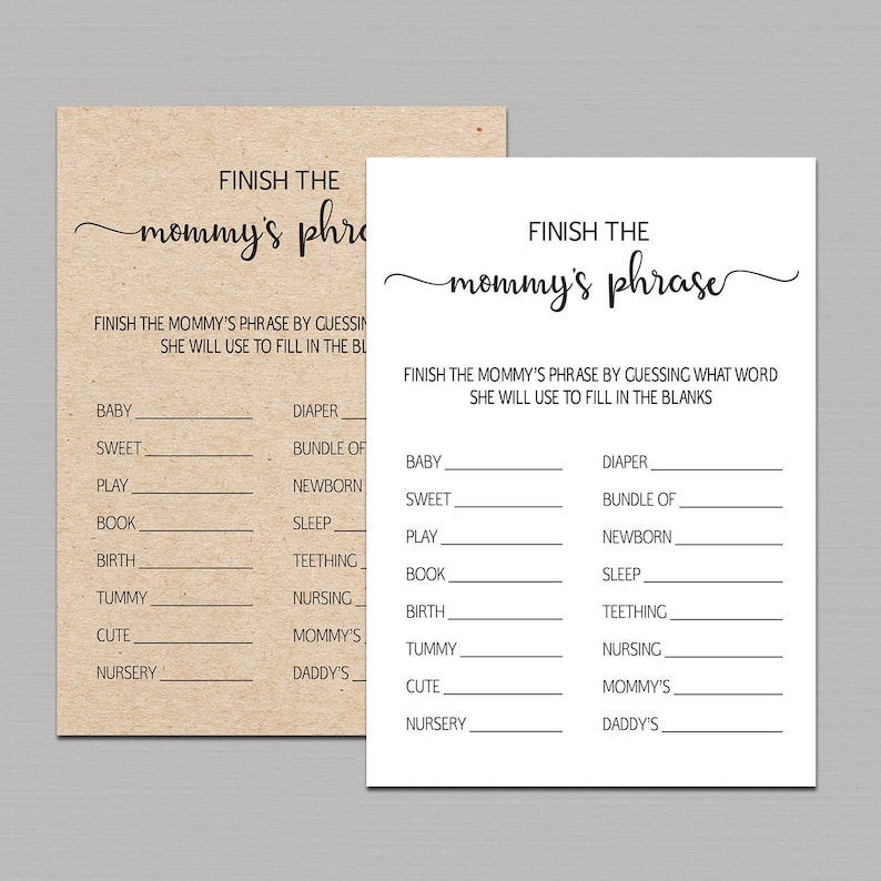Finish Mommy's Phrase Game, finish mommy phrase, Rustic Baby Shower Games  Printable, finish mama's phrase, Kraft Games Instant Download B11