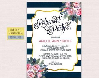 RETIREMENT INVITATION instant download, retirement party invitations download, retirement party invite, retirement invitation floral pdf BL3
