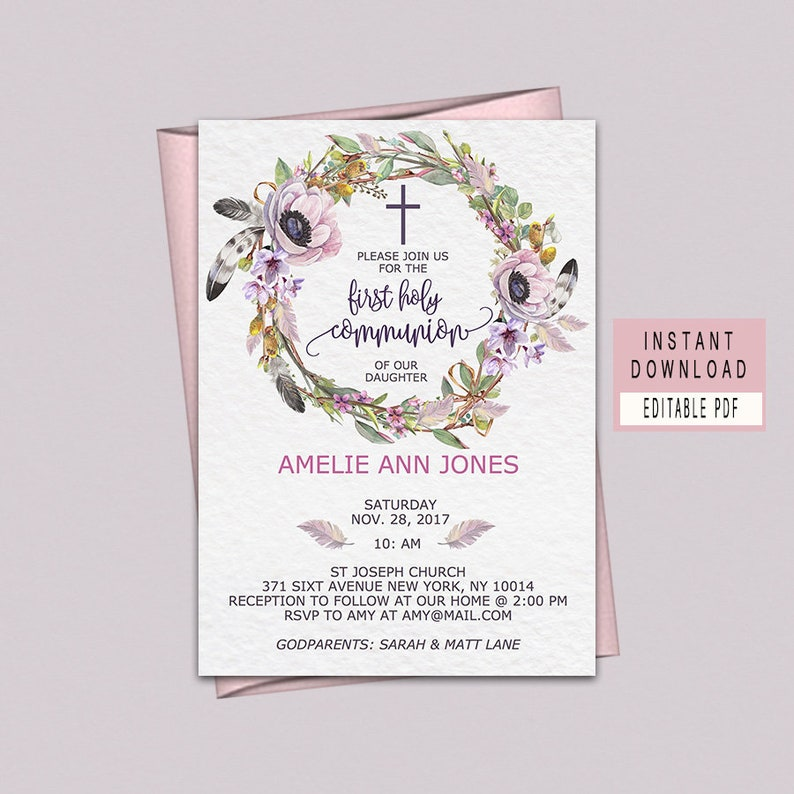 First Holy Communion Invitations First Holy Communion Invites Etsy