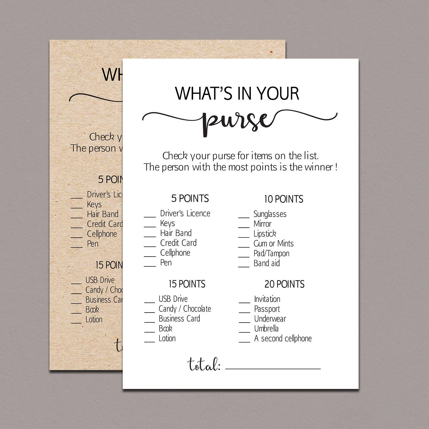 This is an image of Accomplished What's in Your Purse Printable