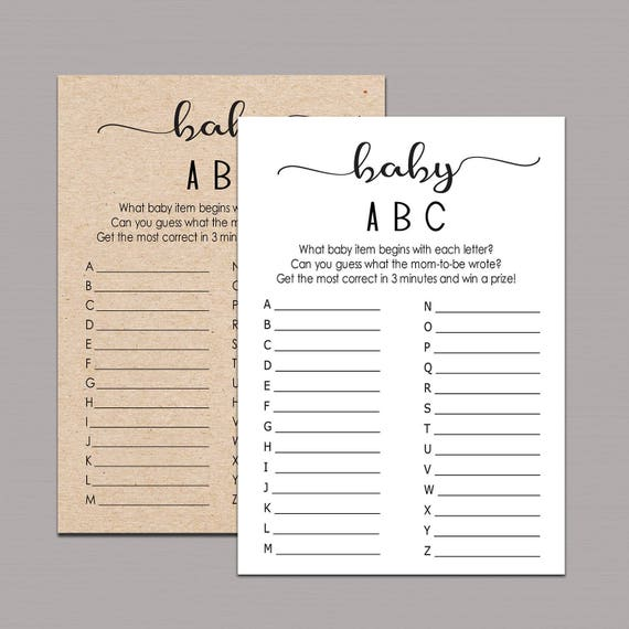 Baby Abc Game Baby Items Game Alphabet Game Baby Shower Etsy