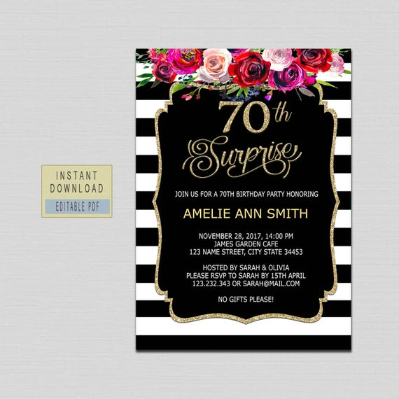 70th Surprise Birthday Invitation Instant Download