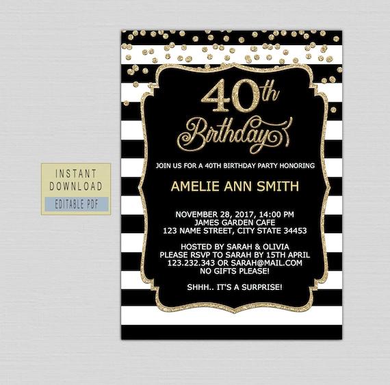40th Birthday Invitations For Women 40th Birthday Invites Instant Download Forty Birthday Invite Template Elegant Black Gold Surprise B21