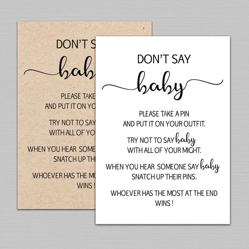 picture relating to Don't Say Baby Sign Free Printable identified as Dont say little one match printable, dont say boy or girl signal, dont say child youngster shower match, Rustic little one shower online games printable Quick Down load B11
