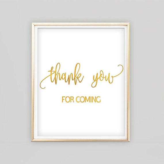 Thank you sign gold, thank you sign for wedding printable, thank you sign  for gift table, thank you for coming sign wedding, 8x10 5x7 B51