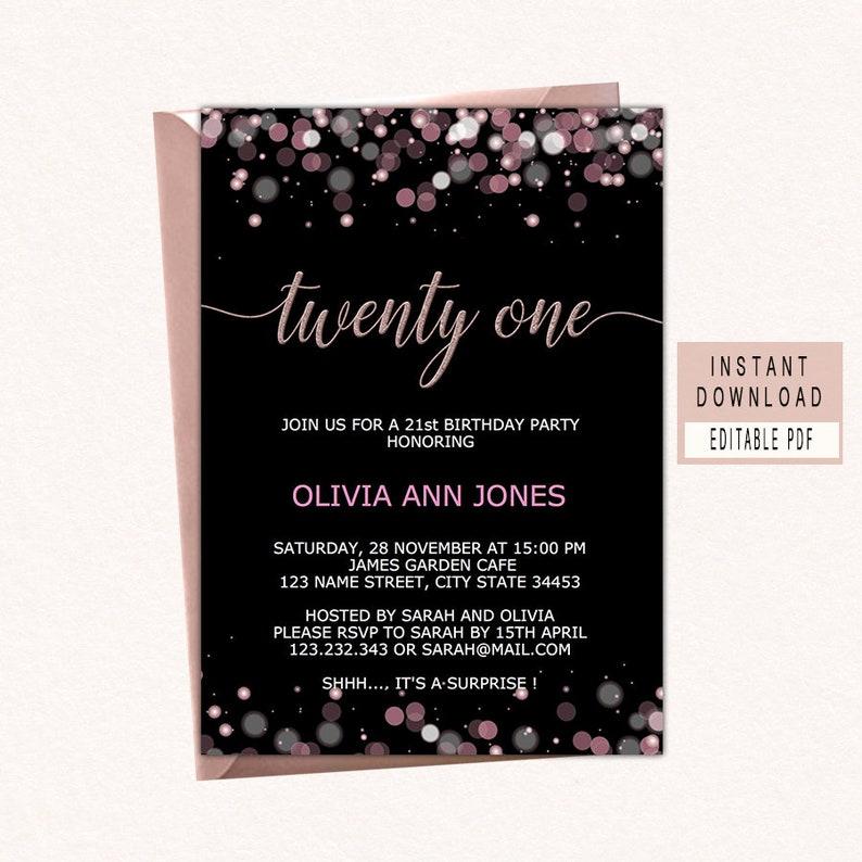 21st Birthday Party Invitation 21st Birthday Invitations For Her Twenty One Birthday Party Invite Instant Download Modern Woman Black