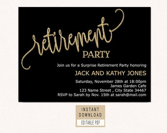 RETIREMENT INVITATION instant download, retirement invitation for woman man, retirement party invitations, black and gold retirement invites