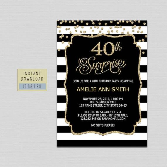 Surprise 40th Birthday Invitation 40th Birthday Invites For Etsy
