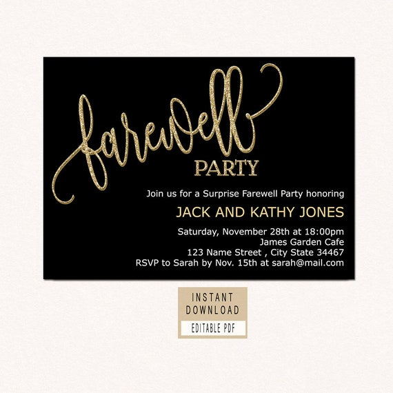 image about Printable Retirement Invitation named Farewell invitation down load, farewell invitation template, black and gold farewell get together invitation, farewell invite printable, retirement