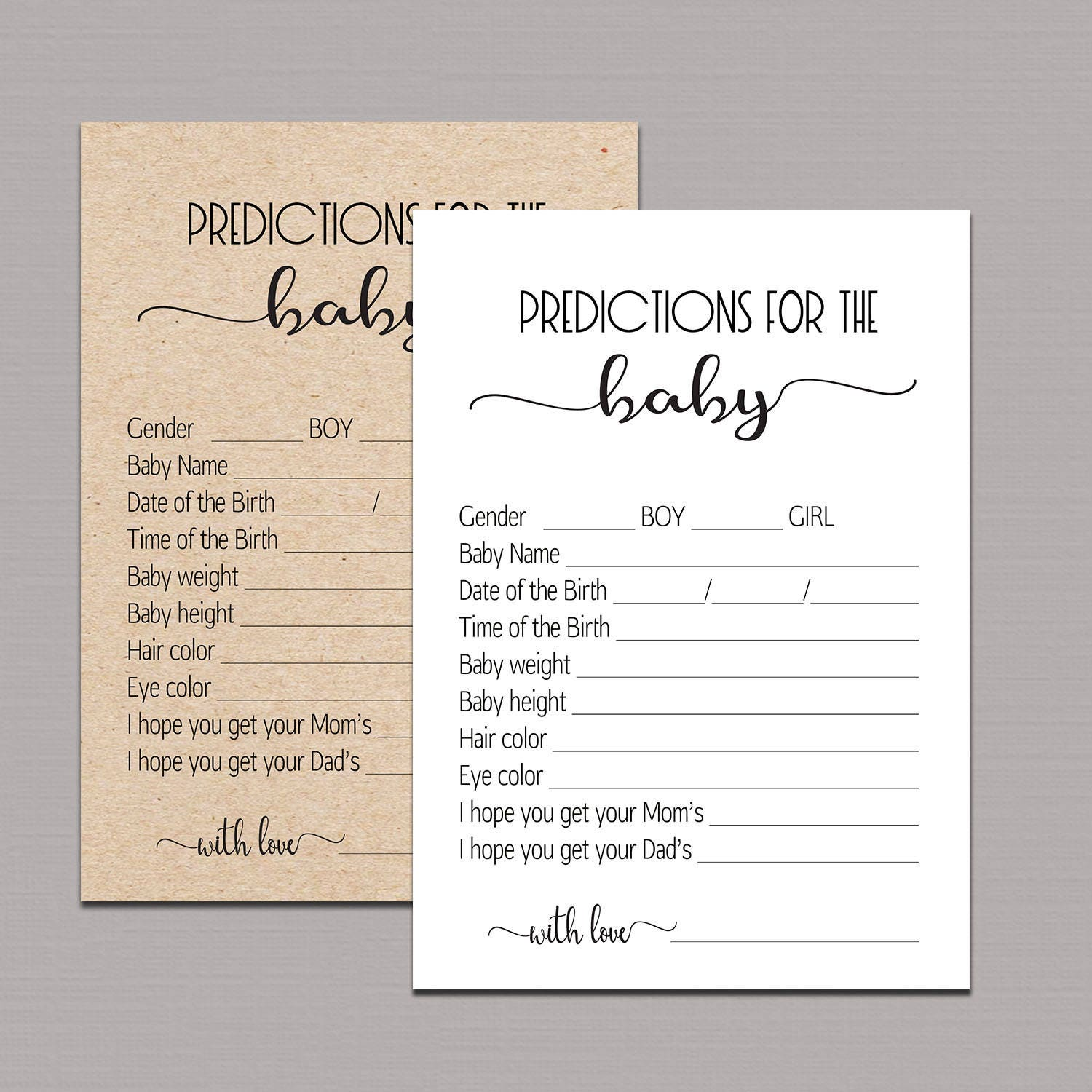 This is an image of Ambitious Baby Prediction Cards Free Printable