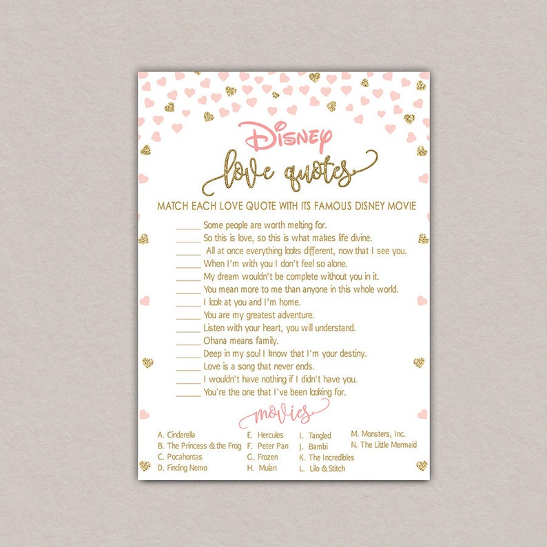 Disney love quotes game, Disney Bridal Shower Games, Pink and Gold Bridal  Shower Games Printable Instant Download, Disney bridal shower B50