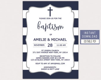 BAPTISM INVITATION instant download, navy baptism invitation, baptism invitation boy navy blue grey, baptism invite for twins boys, editable
