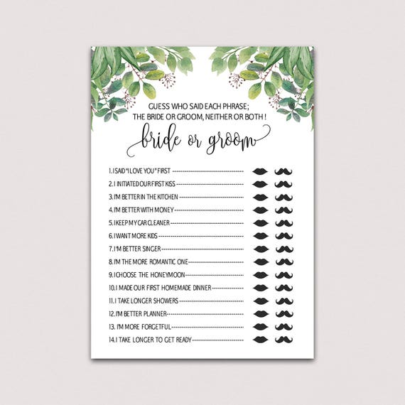 ef742784726 He said she said bridal shower game Bride or groom game