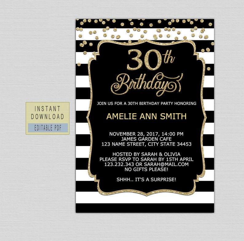 30th Birthday Invitation Instant Download