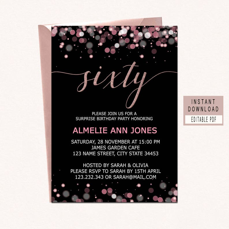60th Birthday Invitations Instant Download Sixty