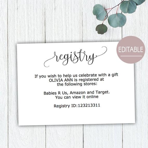 Gift registry card baby shower, gift registry card template, wedding gift  registry instant download, details cards, rustic bridal shower B11